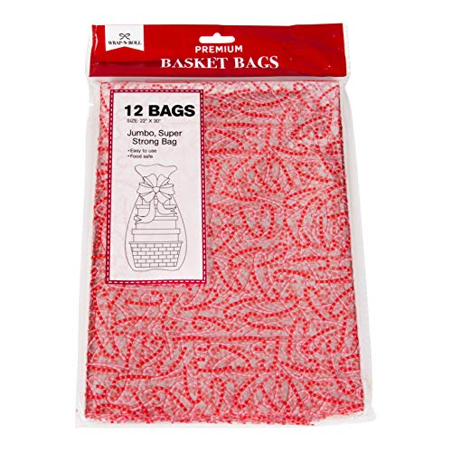 (Christmas Gift Basket Bags Clear Plastic Cellophane, 22x30 Designed with Candy Cane, for Holiday and Party Favors (Set of 12))