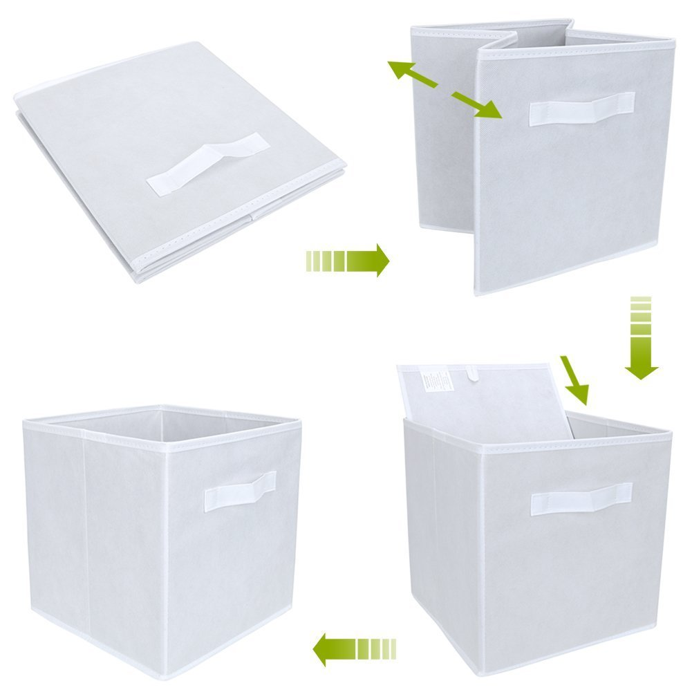 Amazon.com: 2PK Fabric Storage Basket Cubes Bins Cubeicals Containers Drawers Storage Toy Organizer with handle (White): Home & Kitchen