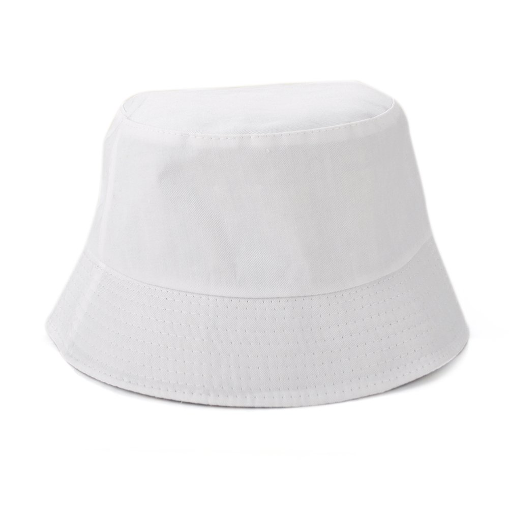 Opromo Blank Cotton Bucket Hat Fishing Hunting Hat Unisex Summer Outdoor Cap-White-48PCS