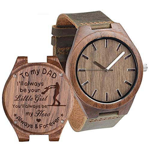 Engraved Wooden Watches for Dad from Daughter - Engraved 'to My Dad, Always Forever' Personalized Gift from Daughter to Dad Wood Gift Ideas Birthday Gift for Father Walnut