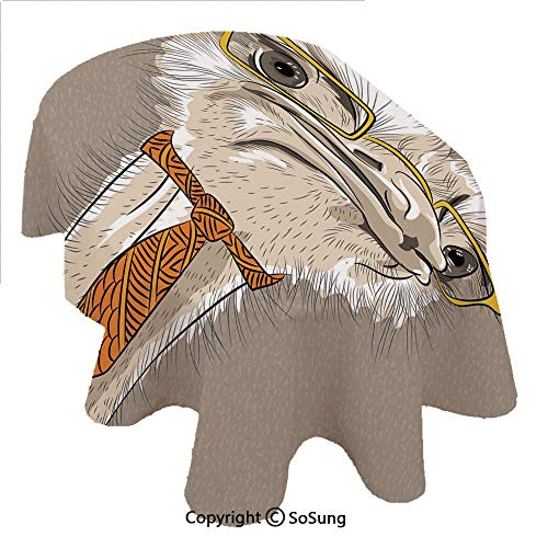 (SoSung Indie Oval Polyester Tablecloth,Sketch Portrait of Funny Modern Ostrich Bird with Yellow Eyeglasses and Tie,Dining Room Kitchen Rectangular Table Cover, 54 x 72 inches,Taupe Beige Yellow)