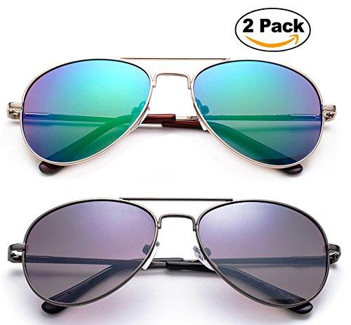 Newbee Fashion - Kyra Kids Popular Aviator Flash/Mirrored Lead Free Fashion Aviator Kids Sunglasses with Spring - Sunglasses Gd