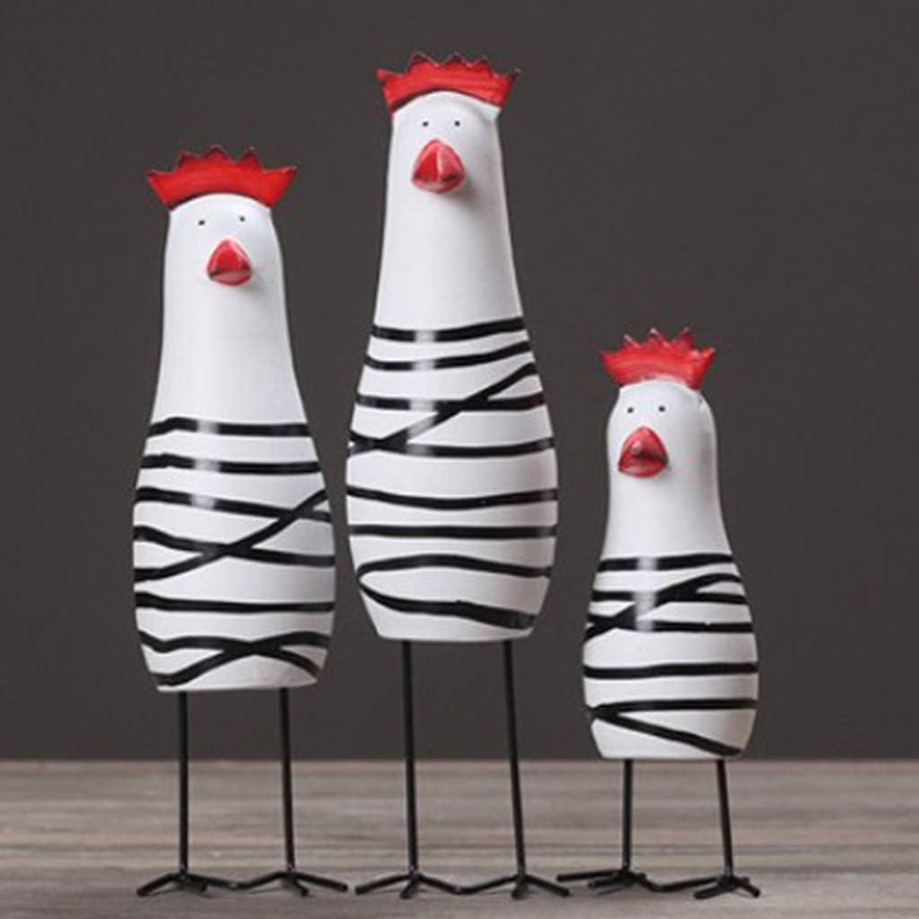 perfk 3tlg Holz Vogelfigur K/üken Hahn Tierfigur Fr/ühlingsdeko Kinder Spielzeug Gartenfigur Garten