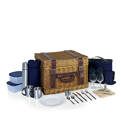 Picnic Time Canterbury English Style Picnic Basket with Deluxe Service for Two, Navy with Green Tartan Insulated Wicker Basket