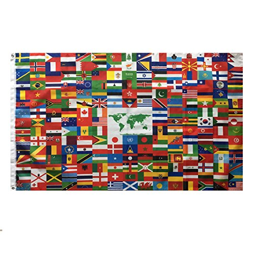 Lixure World Flag 3x5 FT World Global Country Flag 216 Country Flag- Vivid Color and Double Stiched 3x5 Foot Flags Polyester with Brass Grommets -