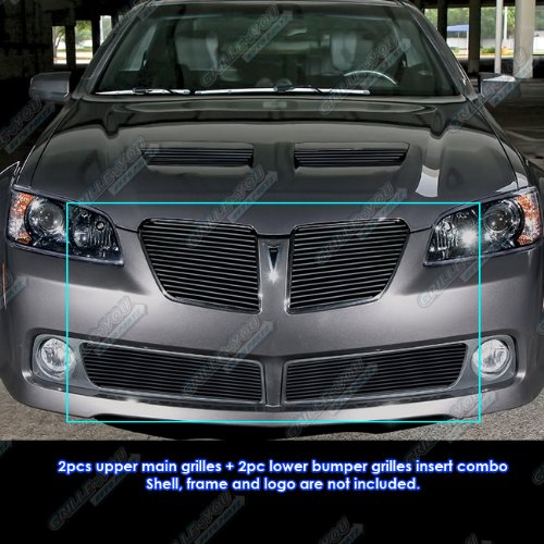 APS Fits 2008-2009 Pontiac G8 Black Billet Grille Insert Combo #P61093H