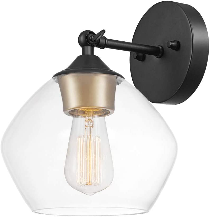 Globe Electric Harrow 1 Light Wall Sconce Matte Black Gold Accent Socket Clear Glass Shade 51367 Amazon Com