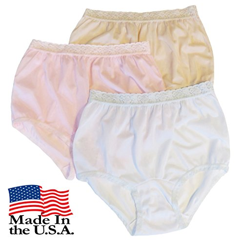 (Women's Pastel Nylon Lace Trim Panties Size 6 (3-Pack))
