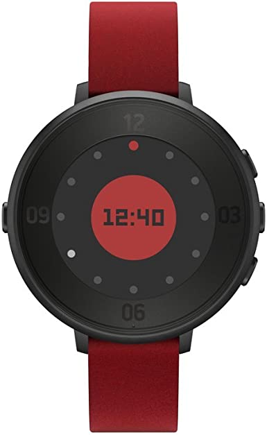 Pebble Time Round 14mm Smartwatch for Apple/Android Devices - Black/Red