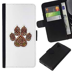For LG Nexus 5 D820 D821 Case , Bear Claw Brown White Pattern Heart - la tarjeta de Crédito Slots PU Funda de cuero Monedero caso cubierta de piel