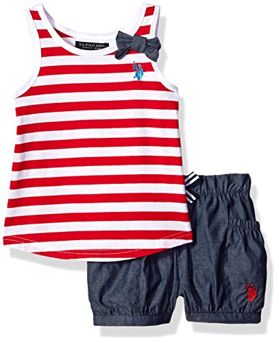U S  Polo Assn  Girls' Toddler Fashion Top and Short Set