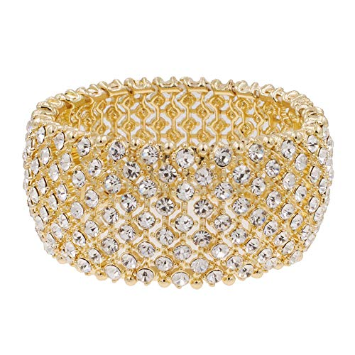 Lavencious Tennis Rhinestone Stretch Bracelets Adjustable Jewelry Party for Woman Bangle (Gold - Clear)