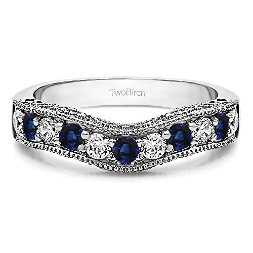 (Diamonds (G-H,I2-I3) and Sapphire Vintage Wedding Band In Silver(0.3Ct) Size 3 To 15 in 1/4 Size Interval)