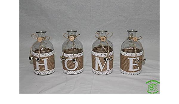 DonRegaloWeb - Juego de 4 botellas de cristal decoradas con la palabra home en color transparente blanco y beige: Amazon.es: Hogar