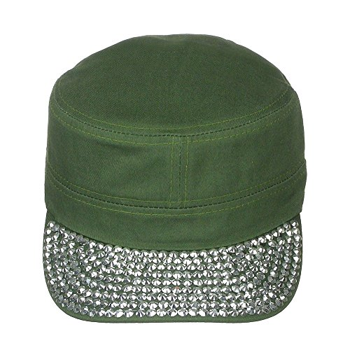 Women's Jewel Visor Bling Military Style Cadet Cap One Size - Olive