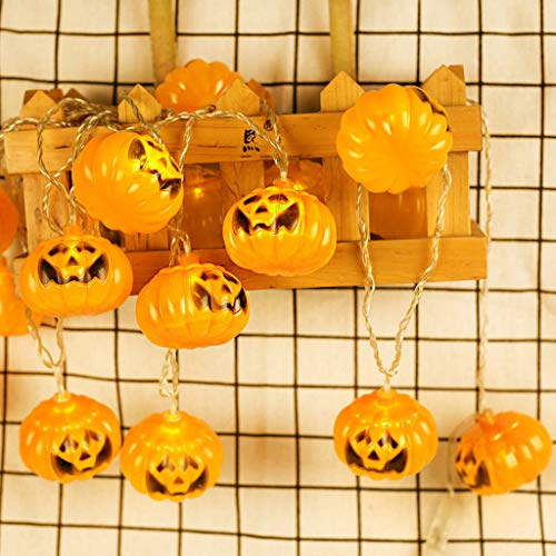Shan-S Halloween Fantastic Pumpkin LED String Light Outdoor Indoor Decoration Horror Lamp Lighting String for Halloween Christmas Tree Masquerade Carnival Themed Party Holiday Decor