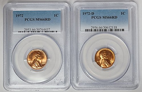 1972 P & D Lincoln Cent 2 Coin Set MS-66 ()