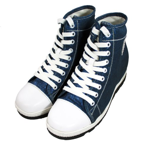 3 Inches Height CALDEN Increasing M106 Shoes Women Canvas Blue Taller xqw4C54