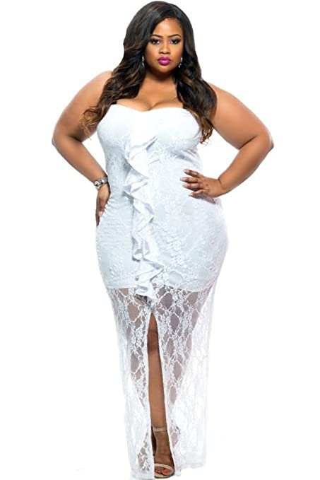 New Womans Plus Size White Lace Maxi Dress Prom Dress Evening Party Wear Plus Size UK