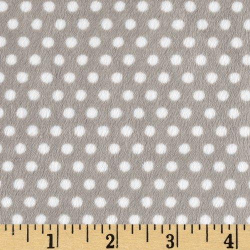 (Shannon Fabrics Minky Cuddle Swiss Dot Fabric by The Yard, Silver/Snow)