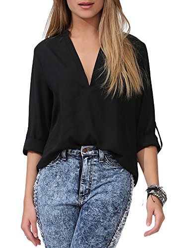 roswear Women's Casual V Neck Cuffed Sleeves Solid Chiffon Blouse Top Black S