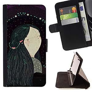 For Sony Xperia Z3 Compact / Z3 Mini (Not Z3) Case , Chica de pelo Negro Arte Pintura- la tarjeta de Crédito Slots PU Funda de cuero Monedero caso cubierta de piel