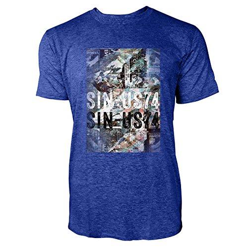SINUS ART® Zerrissenes Poster Herren T-Shirts in Vintage Blau Cooles Fun Shirt mit tollen Aufdruck