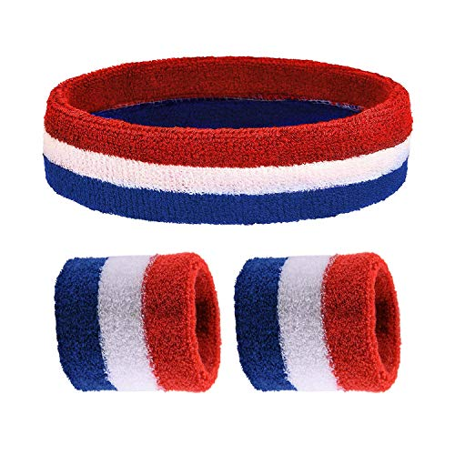Bandmax Cotton Sport Sweatbands Set,Including 1 Piece Headband and 2 Pieces Sweatbands Striped Bracer Set Keeping Warm Wristbands for Women and Men (Piece Headband 2)