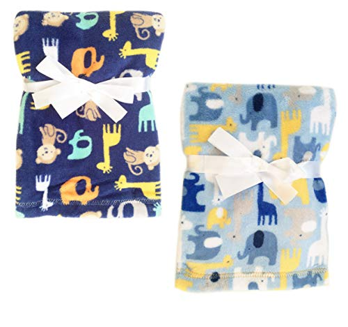 2-Pack Super Soft Plush Lightweight Furry Fleece Brown Monkey Yellow Giraffe Green Elephant Zoo Animal Print Baby Navy Light Blue Boy Blanket Twins Gift Set