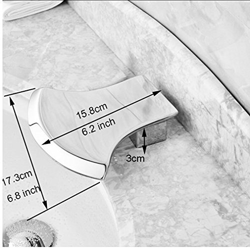 Gowe Axe Design Waterfall Spout Bathroom Sink Faucet Widespread 3pcs Mixer Tap Chrome Finished 2
