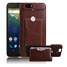 Nexus 6P Case, Premium Leather Wallet Case Cover with Stand Card Holder for Huawei Google Nexus 6P / 6 2nd Gen 2015 Phone (Bracket - Brown)