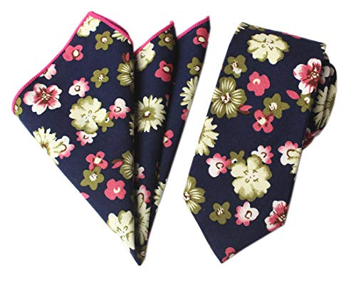 Suit Brioni Cotton - Tie and Pocket Square Set Extra Long Neckties XL Cotton Ties For Tall Men, Skinny Narrow Width, Navy