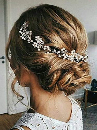 Edary Wedding Hair Vine Accessories Bridal Headpiece with Crystal Flower Rhinestones Jewelry for Brides and Bridesmaids(Silver)