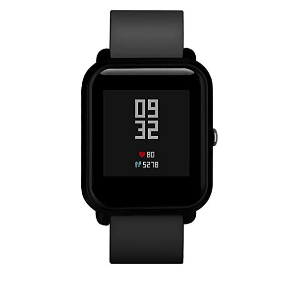 For Huami Amazfit Bip Younth Watch, Fullfun Colorful PC Case Cover Frame Protect Shell (Black)