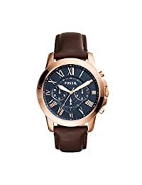 Fossil Men's FS5068 Grant Stainless Steel Watch with Brown Leather Band