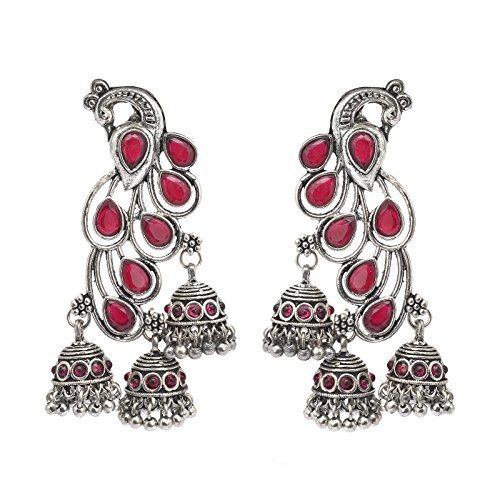 946ee2178 Designer fashionable german silver oxidized peacock light weight earrings  with free shipping: Amazon.in: Jewellery