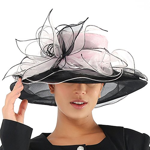 JUNE'S YOUNG Women Hats Summer Big Hat Wide Brim Top Flower White Black (Pink Black) (Rims Black Pink)