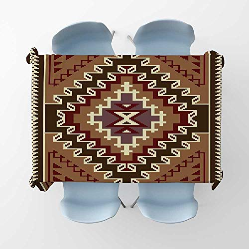 Afghan Picnic Cloth Oriental Style Ethnic Illustration with Geometric Triangles Pixel Art InspirationsRectangle/Oblong Table Cover W 70
