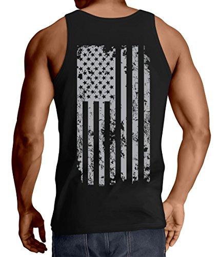 (HAASE UNLIMITED Men's Silver American Flag Tank Top (Black, Medium))