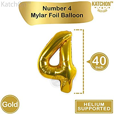 Number 4 Foil Gold and Gold Confetti Balloons for 4th Birthday Celebartions | 5 Gold Confetti Balloons, 12 Inch | 4th Birthday Party Decorations | Party Supplies for Birthday and Anniversary Décor: Toys & Games