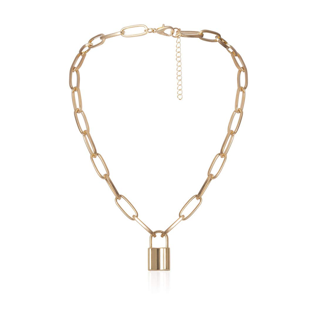 Krun Lock Necklace Y Pendant Simple Cute Heart Necklaces Long 3 Multilayer Chain Fashion Jewelry Women Girls Gift for Her