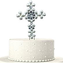 JennyGems Baptism Cake Topper - First Holy Communion Cake Topper - Dedication Cake Topper - Religious Cake Toppers - Christening Cross Cake Toppers - Christian Wedding Cake Topper