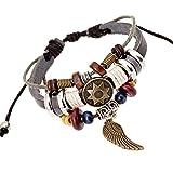 Charm Angel Wing Unique Totem of Sun Multistrand Leather Bracelet