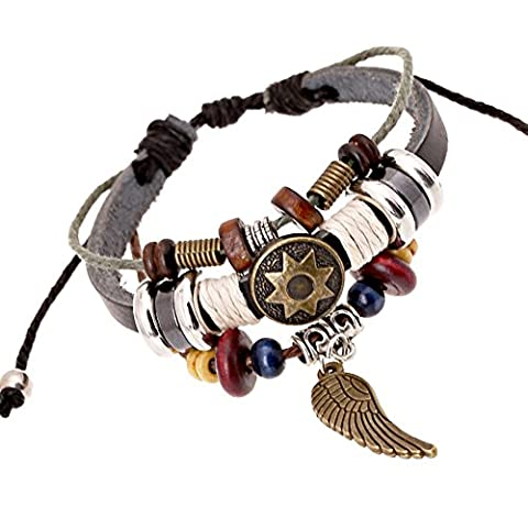 Charm Angel Wing Unique Totem of Sun Multistrand Leather Bracelet