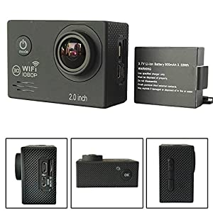 """YOEMELY Action Video Camera,HD 1080P 14M Wifi Sports Camcorder 2.0"""" LCD Screen,170 Degree Wide Angle Lens Cam,98ft Waterproof Underwater DV with 16 Accessories Kit (Black)"""