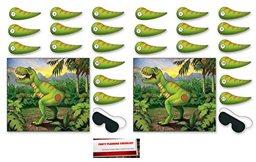 2 Pack Pin The Tail On The Dinosaur Game 18 x 21½ Inches - 2 Masks & 24 Tails Included (Plus Party Planning Checklist by Mikes Super Store)
