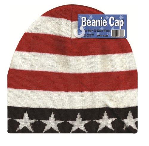 - Beanie Cap USA Patriotic American Flag Stripes Winter Skull Cap