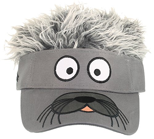 Flair Hair Mens Seal Face with Grey Hair Visor One Size Fits Most -