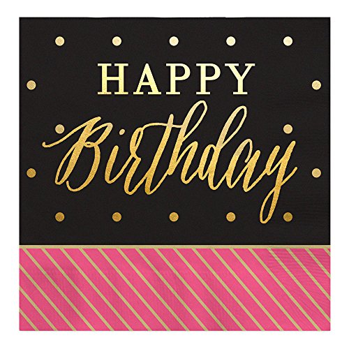 Chic Happy Birthday - Pink, Black with Gold Foil - Luncheon Napkins (16 - Pink Gold And Black