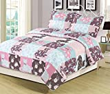 HowPlum Twin Quilt Floral Patchwork Cats Bedspread Bedding 2 Piece Set Pink Blue Purple
